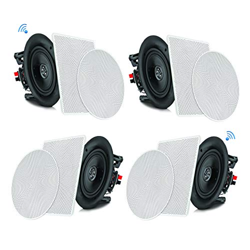 "Pyle 5.25"" 4 Bluetooth Flush Mount In-wall In-ceiling 2-Way Speaker System Quick Connections Changeable Round/Square Grill Polypropylene Cone & Tweeter Stereo Sound 4 Ch Amplifier 150 Watt (PDICBT256) (Electronics)"