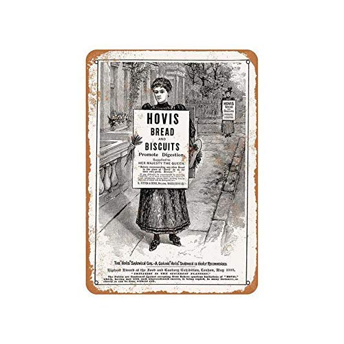 KASHIER KCGYAM Hovis Bread and Biscuits Metal Sign Poster Tin Prompt Plaque Vintage Wall Decor for Bar Club Man Cave Garage 12x8 Inch