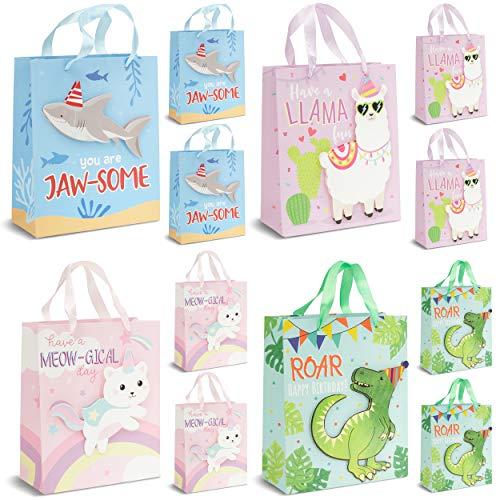 Bolsas de regalo de cumpleaños de animales (9 x 19 cm, 12 unidades)