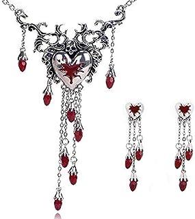 Offerte di liquidazione, Fittingran Collana di Halloween Rosso A Forma di Cuore Intarsiato di Strass Sezione Lunga Ciondol...