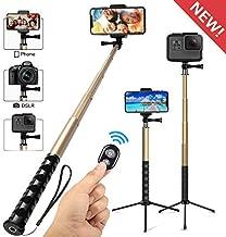 Whlzd Selfie Stick Tripod, 46 Inch Extendable Bluetooth Selfie Stick Tripod with Wireless Remote, Compatible Monopod for iPhoneX/8/8Plus/7/GalaxyS9/S9Plus/Note8/S8Plus/DSLR Cameras(Gold)