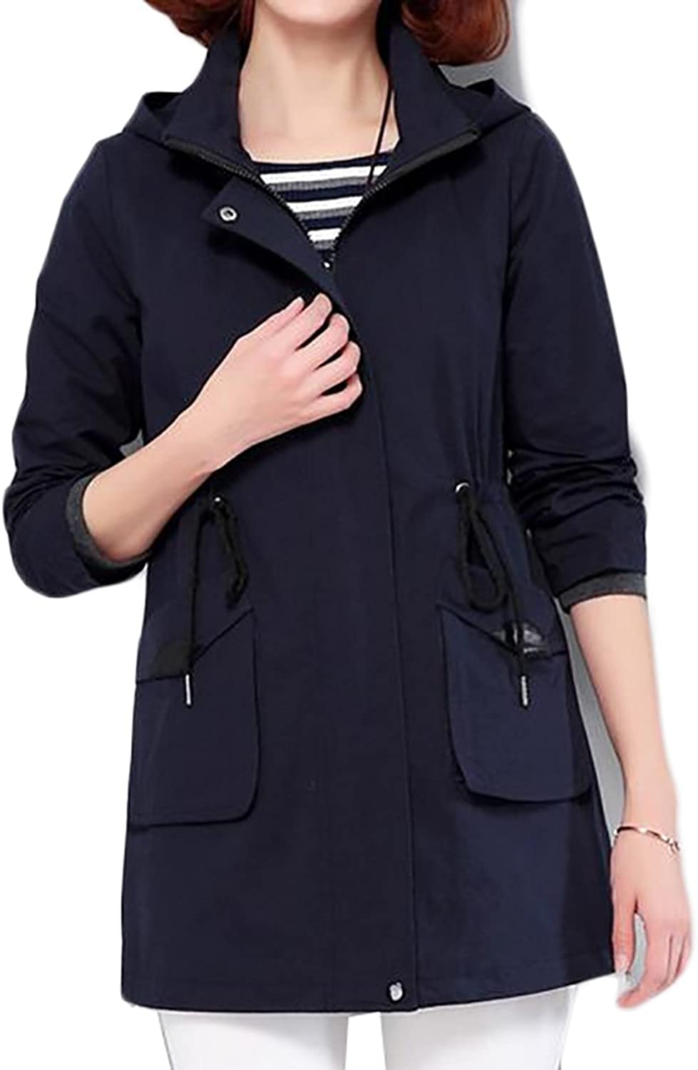YUNY Womens Zipper Front Drawstrings Loose Fit Hooded Trench Coats
