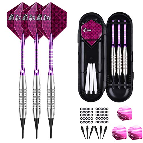 Darts Plastic Tip Set - 18g Soft Tip Darts - 16g Dart Barrels w/ 50 O-Rings + 6 Shafts(Aluminum & White Plastic Rods + Extra 50 Replacement Soft Tips Accessories for Electronic Dart Board
