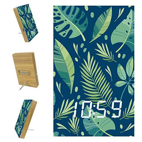 Reloj despertador digital con cargador USB, visualización de tiempo LED de madera, hoja verde tropical, sin tictac, para dormitorio, mesilla de noche, oficina