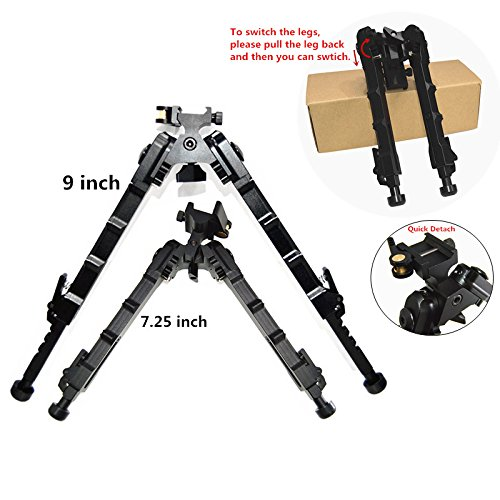 FIRECLUB 2019 QD Bipod Black Tactical Bipod 7.25-9 inches Extension Flat Adjustable Stable