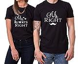 Mr Right Mrs Always Right King Queen Partnerlook Camiseta de los Pares Dulce para Parejas como Regalos, Größe2:M;Partner Shirts:Herren T-Shirt Schwarz