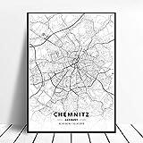Leinwanddruck,Chemnitz Deutschland Schwarz-Weiß-Stadt