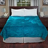 Lavish Home Aqua Solid Soft Heavy Thick Plush Mink Blanket 8 Pound