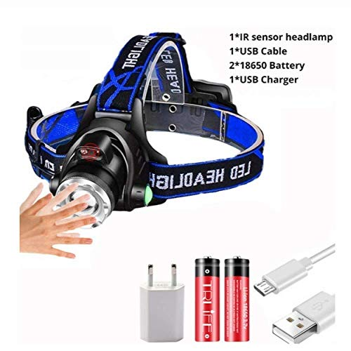 LBBL hoofdlamp T6, krachtig, oplaadbaar, LED, hoofdlamp, lichaam, bewegingsmelder, zaklamp, camping, zaklamp
