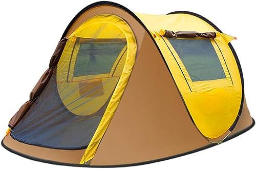 WANG2018 Tente 3 4 Personnes, auvent de Camping de Vacances, équipée de la Technologie noirout Bedroom, 100% imperméable, Cousue à l'étage,jaune