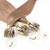 Hair2Heart 25 x 0.5g Extensiones de Micro Ring Pelo Natural - 40cm - Liso, Color 10 Marrón Cenizo
