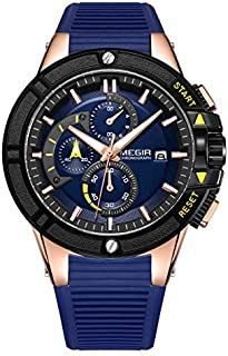 Megir Mens Quartz Watch, Chronograph Display and Silicone Strap - 2095G