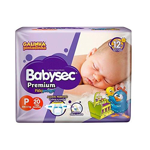 Fraldas descartáveis Babysec Premium Galinha Pintadinha Flexi Protect, 20 Unidades, Tamanho P Até 6 Kg