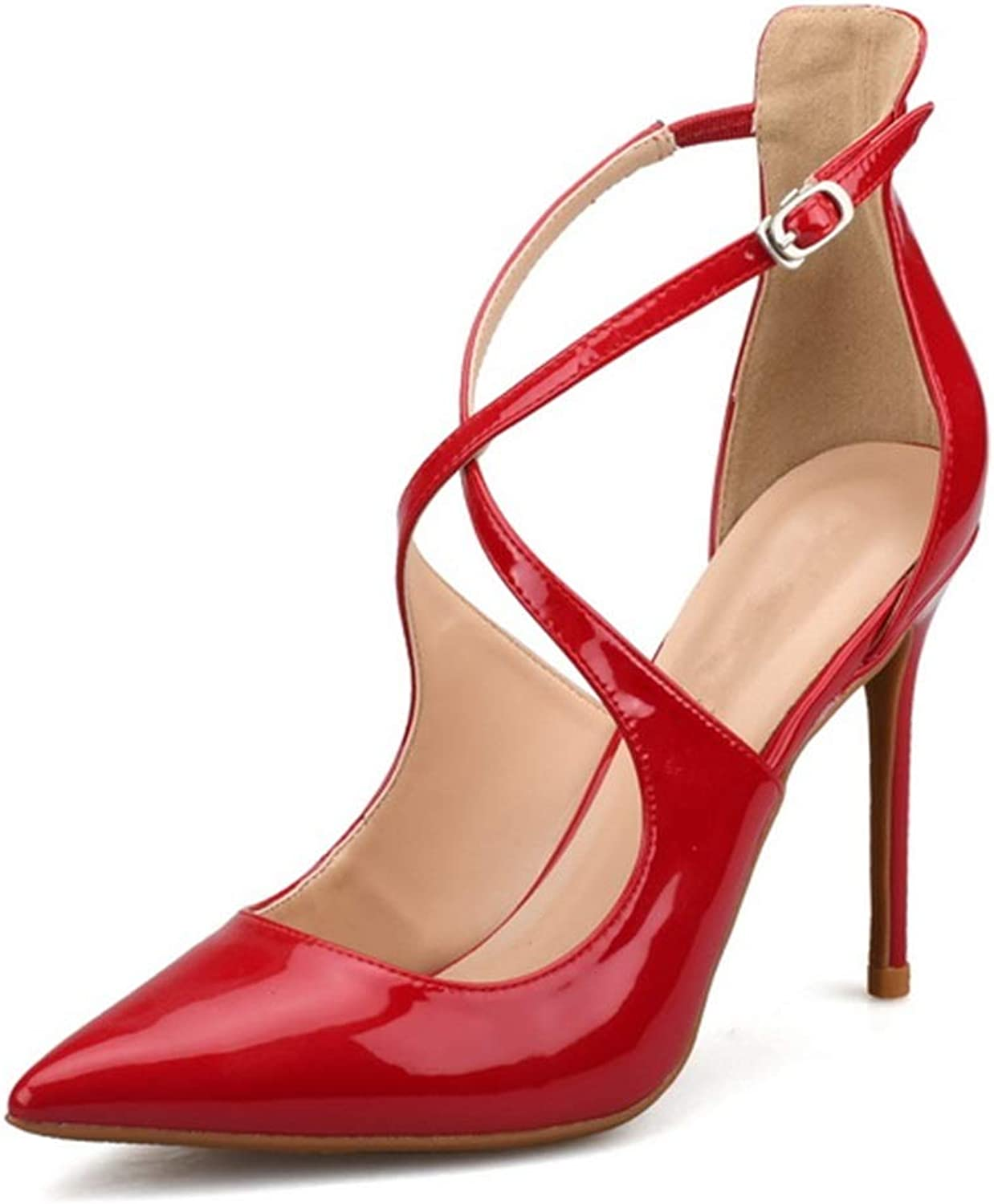 Lindarry Ankle Strap Sandals for Women Stiletto High Heeled Pumps Pointed Crisscross Strappy Patent PU Sides Cut Fashion (color   Red, Size   6.5 M US)