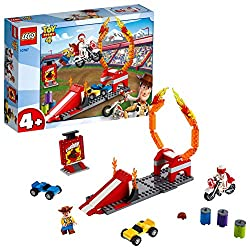 Includes 2 minifigures: Woody and Duke Caboom This cool set features a striped ramp with a gap for cars and an adjustable ring of fire Help your child move the ring of fire into different positions and more challenging stunt jumps Accessory elements ...