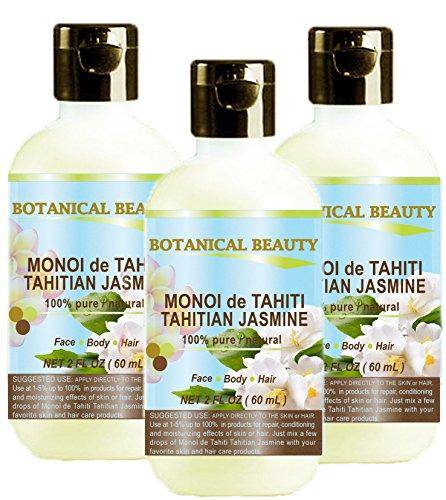 MONOI de TAHITI TAHITIAN JASMINE OIL 100% Natural / 100% PURE BOTANICALS. 2 Fl.oz.- 60 ml. For Skin, Hair and Nail Care.