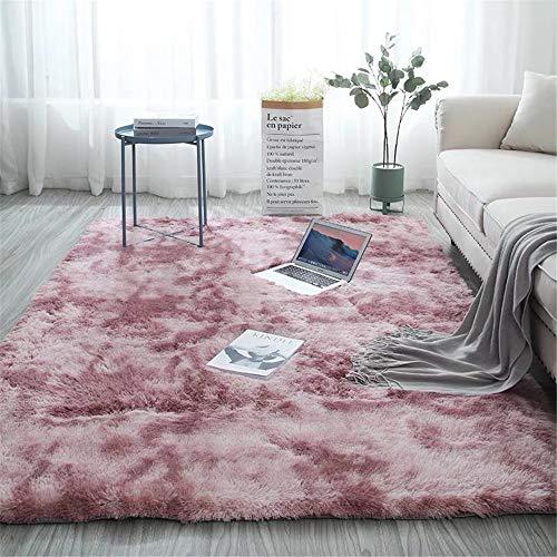 YUNSW Polyester Langstapelteppich Farbverlaufsteppich Wohnzimmer Couchtisch Matte langes Haar Waschbar quadratischen Teppich