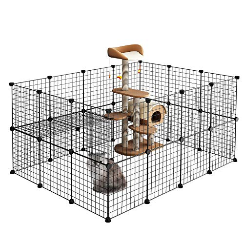LANGRIA Pet Playpen, DIY Small Animal Cage for Guinea Pigs, Puppy,Rabbit   Pet Products Portable Metal Wire Yard Fence (Black)