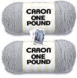 Caron One Pound Yarn - 2 Pack with Patterns (Soft Grey Mix)