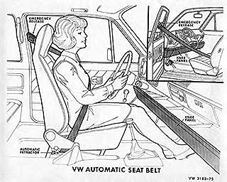 amazon volkswagen advertising collectibles fine art 1965 Volkswagen Beetle Blue 1975 volkswagen rabbit seatbelt factory photo