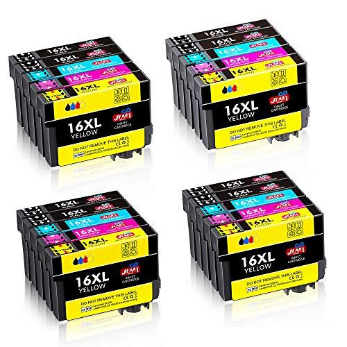 JIMIGO 16XL 16 XL Cartucce Sostituzione per Epson 16 Cartucce Compatibile con Epson Workforce WF-2630 WF-2510 WF-2760 WF-2530 WF-2750 WF-2660 WF-2520 WF-2650 WF-2540 WF-2010 WF2630 WF2510 WF2760
