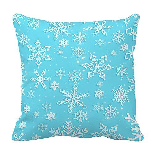 Perfecone Home Improvement - Funda de almohada de algodón para cama de matrimonio, diseño de copo de nieve, color azul claro, 1 paquete de 60 x 60 cm