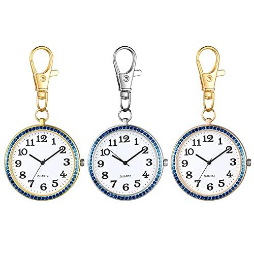 JewelryWe 3pcs Karabiner Taschenuhr mit Gravur Quarz Analog Uhr Strass Quarzuhr mit Schlüsselanhänger für Ärzte Krankenschwestern Sanitäter Köche Gold Blau
