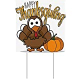 "This Happy Thanksgiving with Turkey Yard Sign measures 23"" square. Design is printed on BOTH sides. A metal H-stake is included with this Happy Thanksgiving Yard Sign for easy display. The plastic corrugated material of this Happy Thanksgiving with T..."