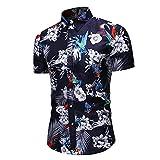 Camisa Hombre Verano Chic Estampado Manga Corta Camisa Hombre Trabajo Casual Vacaciones All-Match Tops Hombres Slim Fit Tapeta con Botones Hawaii Estilo Étnico Shirt Hombres