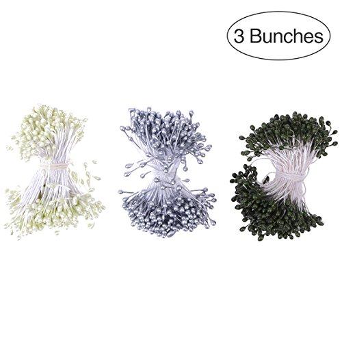 BESTOYARD Staubblätter mit Zwei Perlen Köpfen, Kunstblumen Blütenstempel für Handwerk DIY Blumen Dekoration 3 Farben