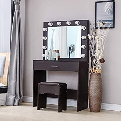 Yezijin Vanity Sets with Lighted Mirror and Cushioned Stool Bench Sturdy Dressing Makeup Table Modern Retro Home Decor Birthday for Women Girlfriend Daughter 2020