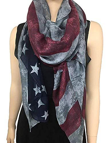 REINDEAR Vintage American Flag Scarf,Unisex Fashion Premium Patriotic,Red,Khaki and Blue American Flag Infinity Shawl Scarf US (Gray)