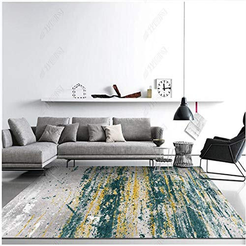 Xiaosua bedroom decor accessories blue Living room carpet blue fuzzy stripes retro old pattern soft carpet anti-mite large floor cushions 200X300CM dorm room accessories 6ft 6.7''X9ft 10.1''