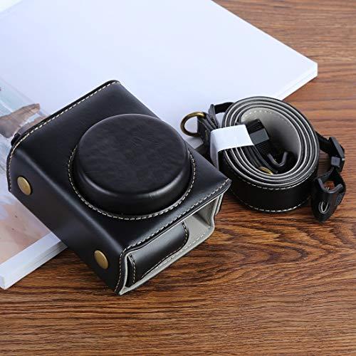 Bolsa Protectora de cámara de Cuero PU G7XII for cámara Digital Canon Powershot G7X Mark 2 G7XII, con Correa Calidad sin Preocupaciones (Color : Black)