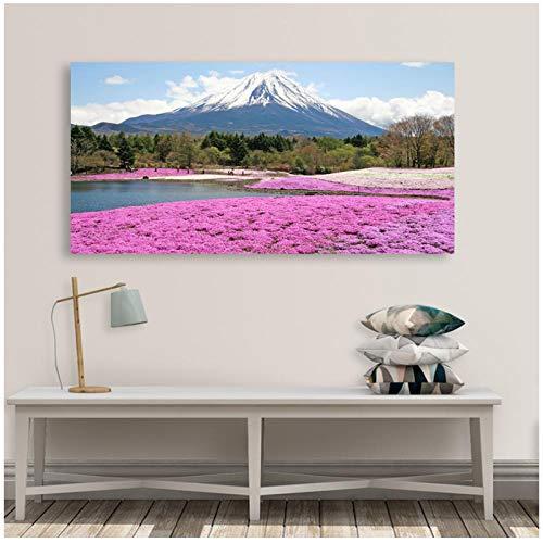 QYH Wohnkultur Wandkunst Wald Bild Hd Drucke Poster Mount Fuji Schnee Berg Rosa Blumen Meer Landschaft Leinwand Malerei-30X60Cm X1 Pcs Ungerahmt