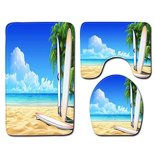 DREAMING-Playa Cocotero Océano Paisaje Impresión Alfombra De Baño Decoración De Baño Alfombra De Piso Absorbente De Agua Franela Alfombra Antideslizante Alfombra De Puerta 3 Juegos 50cm * 80cm