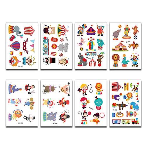 JIACUO 8 Feuilles de Bande Dessinée Animal Cirque Tatouage Autocollants Enfants Mignon Tatouages Temporaires Art Enfants d'anniversaire Enfants Bach