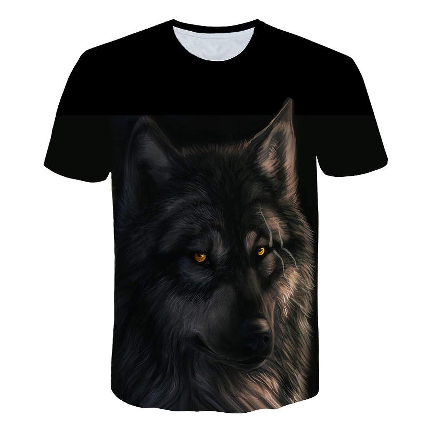 JJLIKER Unisex 3D Print T-Shirts Wolf Graphic Tees Funny Creative Short Sleeve Tops Tee for Men Women