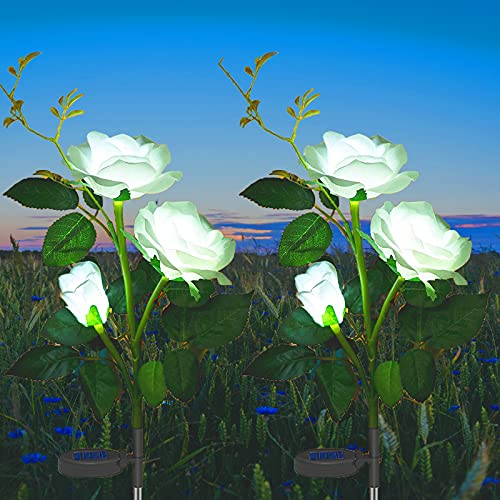 Luci Giardino Energia Solare, ZQX 2 Pezzi Rose Lampade Solari Cortile Fiore Luci da Esterni Luce...
