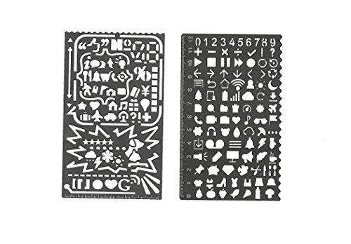 2 Pack Stencil Cartoon Llife Elements Template Study Planning Drawing Stainless Steel Stencil