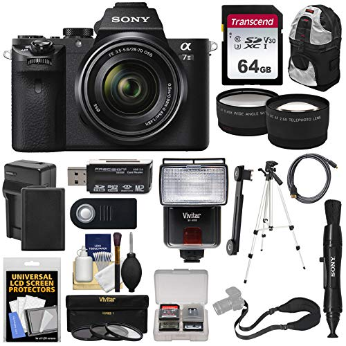 Sony Alpha A7 II Digital Camera & 28-70mm FE OSS Lens with 64GB Card + Battery + Backpack + Strap + Tripod + Flash + Tele & Wide Lens Kit