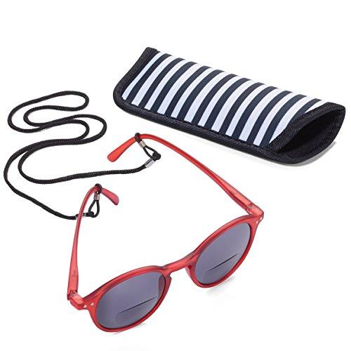 TROIKA SUN READER 2 - SUR25/BR- Lesesonnenbrille mit Etui - bifokal - Stärke +2,25 dpt - Lesebrille + Sonnenbrille - Polykarbonat/Acryl/Mikrofaser - rot - das Original