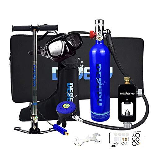 SELMAL Mini Cilindro de oxígeno de Buceo, Kit de Equipos de Tanque de Buceo portátil de 1L con 15-20 Minutos de respiración subacuática, Equipo de respirador de Buceo para Nadar Rescate de Snorkeling