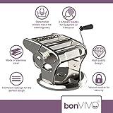 bonVIVO® Pasta Mia (NEUES DESIGN) Nudelmaschine aus Edelstahl in Chrom-Look, für den italienischen Pasta-Genuss aus der eigenen Küche, mit rutschfesten Ansaugsockel - 2