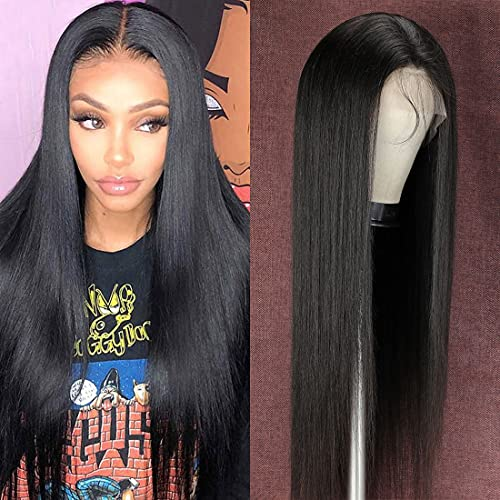 Lsybeauty Wigs Straight-Lace-Front-Human-Hair Wigs HD Transparent 13x4 Lace Frontal Brazilian 150% Pre-Plucked 10A Unprocessed 28 Inch Hair Wigs with Baby Hair Long Natural Black Wigs for Black Women