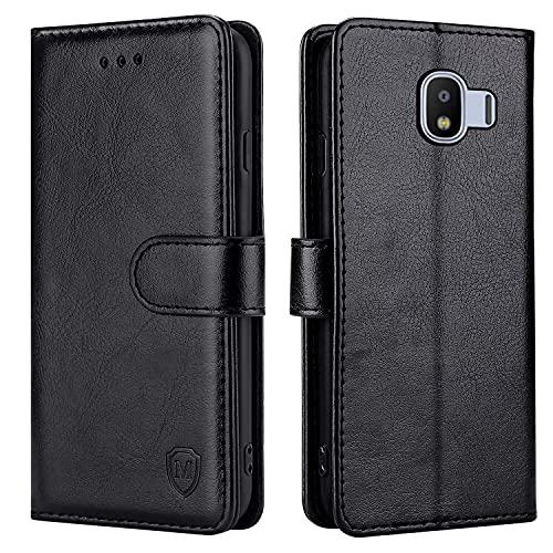 FMPCUON Hülle für Samsung Galaxy J2 Pro 2018 Handyhülle [Standfunktion] [Kartenfach] [Magnetverschluss] Tasche Flip Hülle Schutzhülle lederhülle flip case für Samsung Galaxy J2 Pro 2018 Schwarz