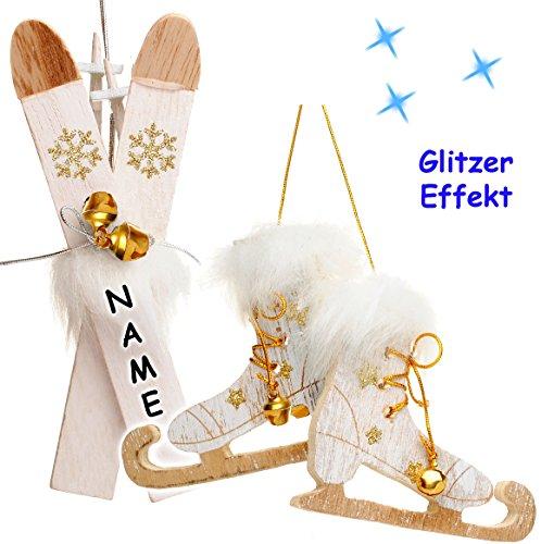 alles-meine.de GmbH 2 TLG. Set _  Ski mit Stöcken + Schlittschuhe mit Glöckchen - weiß / Gold  - incl. Name - aus Holz - 13,5 cm - Miniatur / Diorama - Anhänger - Weihnachtsdek..