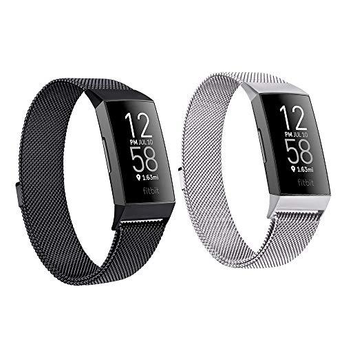 SINPY Correa para Fitbit Charge 4,2-Pack Metal Acero Pulsera Repuesto Correas Compatible con Fitbit Charge 3 Fitbit Charge 3 SE,Negro Plata