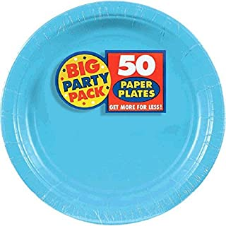 Amscan Caribbean Blue Dessert Paper Plate Big Party Pack, 50 Ct.