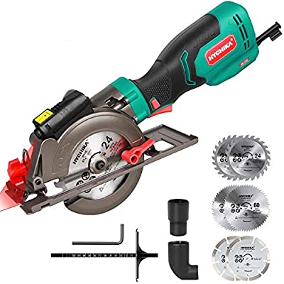 """Circular Saw, HYCHIKA Mini Circular Saw with 6 Blades (4-1/2""""), 6.2A 3500RPM, Laser Guide, Max Cutting Depth 1-11/16'' (90°), 1-3/8'' (45°), Ideal for Wood, Soft Metal, Tile and Plastic Cuts"""